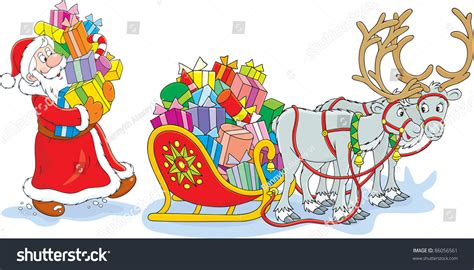 Santa Claus Loading His Sleigh With Christmas Presents